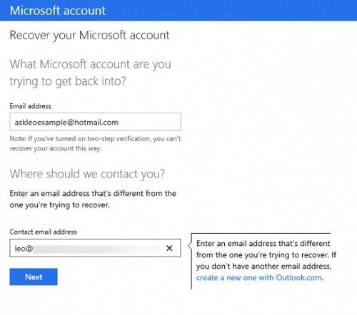 Recover Hotmail Password
